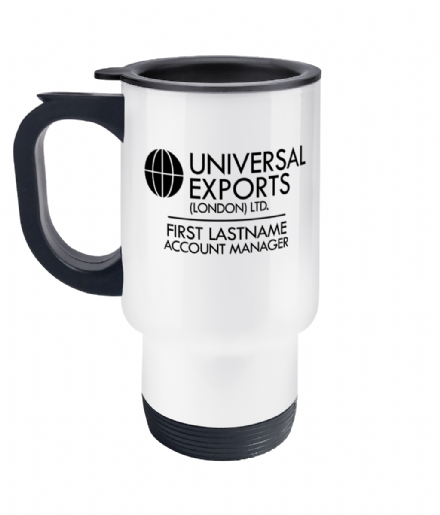 Universal Exports Personalised Travel Coffee Mug Inspired by James Bond 007